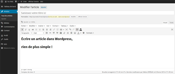 L'éditeur de texte WordPress